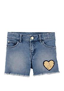 Carter's® Toddler Girls Flip Sequin Heart Denim Shorts