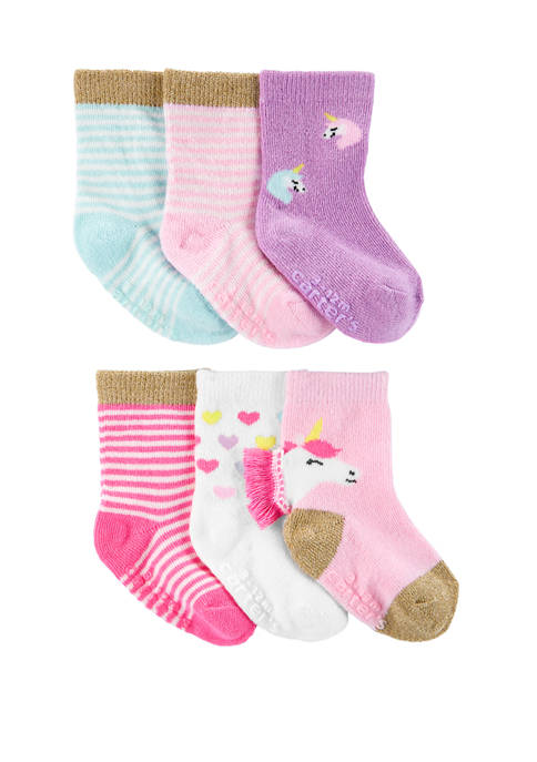 Carter's® Toddler Girls 6 Pack Unicorn Crew Socks