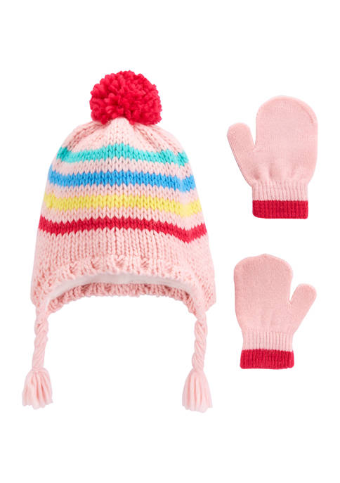 Toddler Girls 2-Piece Striped Hat and Gloves Set
