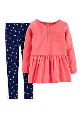 7feb98fb15debe Carter's® Girls 4-8 Woven Peplum Top and Floral Leggings Set ...