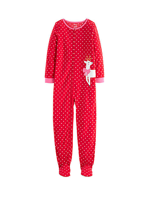 Girls 4-16x Red Deer Footie Pajamas