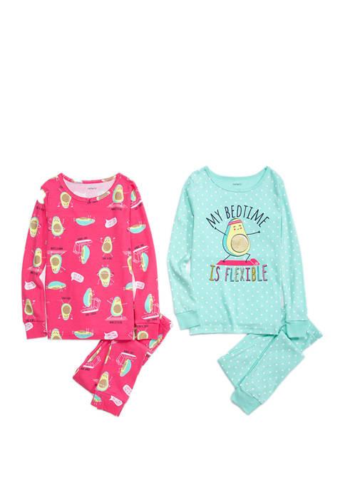 Carter's® Girls 4-16 4 Piece Avocado Toast Pajama
