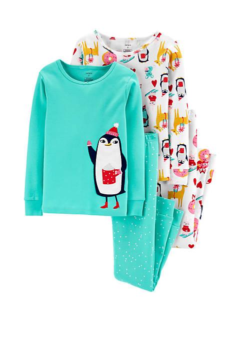 Carter's® Girls 4-16 4 Piece Penguin Snug Fit