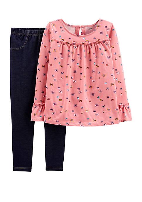 Carter's® Girls 4-8 2 Piece Butterfly Ruffle Top