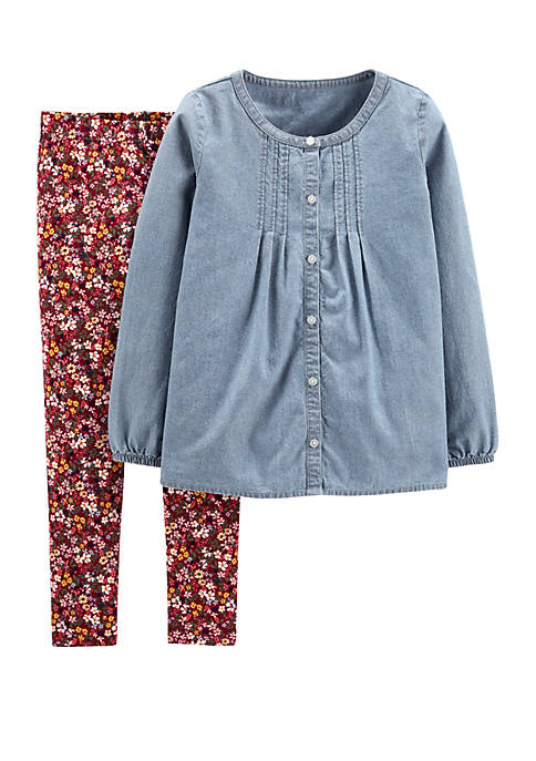Carter's® Girls 4-8 2 Piece Chambray Button Front