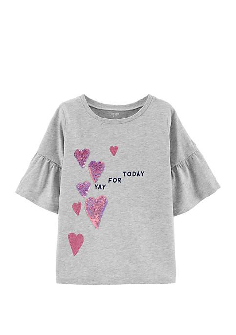 Carter's® Girls 4-8 Glitter Heart Bell Sleeve T-Shirt