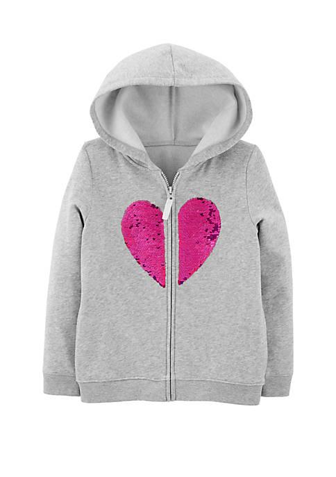 Girls 4-8 Flip Sequin Heart Zip Up Fleece Hoodie