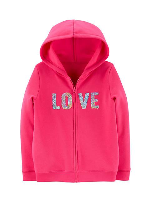 Girls 4-8 Flip Sequin Love Zip Up Fleece Hoodie