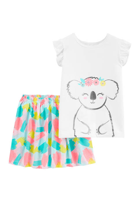 Carter's® Girls 4-8 2 Piece Floral Koala T-Shirt