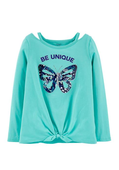 Carter's® Girls 4-8 Butterfly Tie Front Jersey T-Shirt