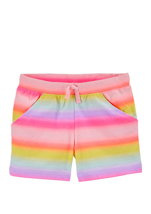 Girls 4-8 Gradient Rainbow Pull On French Terry Shorts