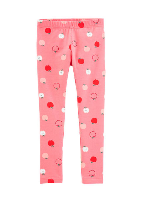 Girls 4-8 Pink Apple Leggings