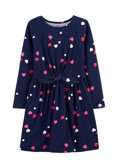 Girls 4-8 Navy Heart Dress