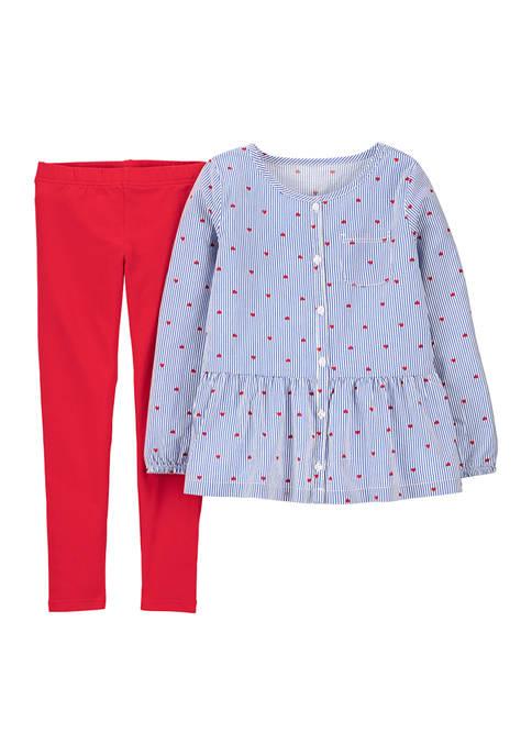 Carter's® Girls 4-6x Woven Heart Top and Leggings
