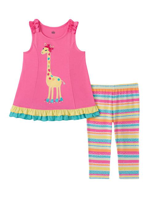 Kids Headquarters Girls 4-6x Sleeveless Giraffe Capri Leggings