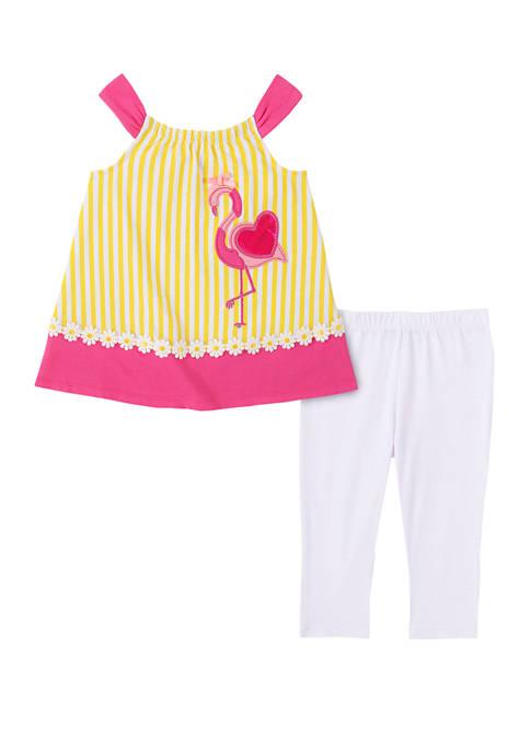 Girls 4-6x 2 Piece Sleeveless Flamingo Top and Capri Leggings Set