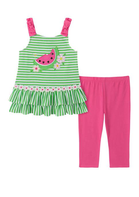 Kids Headquarters Girls 4-6x 2 Piece Watermelon Top