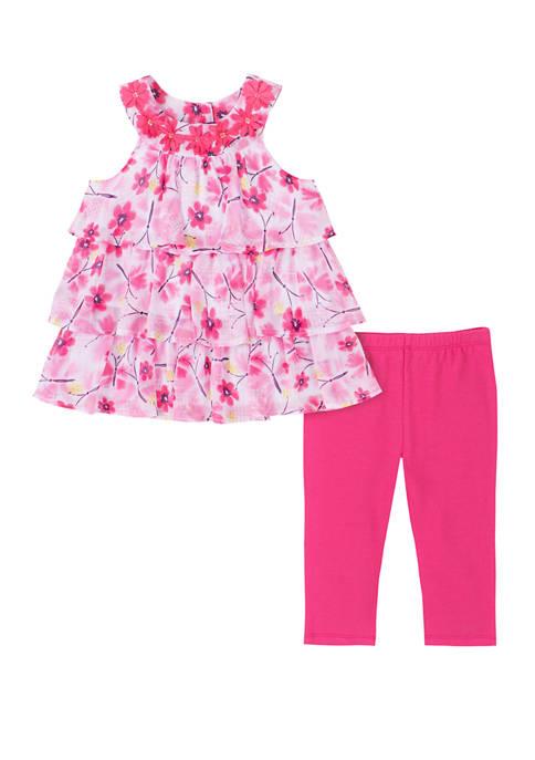 Girls 4-6x Sleeveless Floral Ruffle Capri Leggings Set