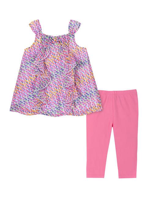 Kids Headquarters Girls 4-6x Sleeveless Bow Capri Leggings