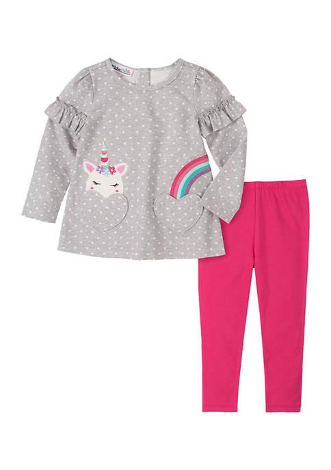 Kids Headquarters Girls 4-6x Unicorn Legging Set