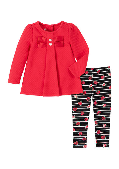 Kids Headquarters Girls 4-6x Red Quilted Legging Set