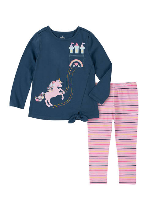 Kids Headquarters Girls 4-6x Unicorn Jersey Top and
