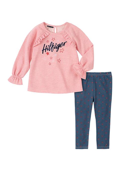 Kids Headquarters Girls 4-6x Pink Fleece Denim Legging