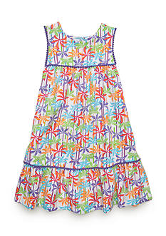 J. Khaki® Palm Print Dress Girls 4-6x