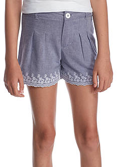 J. Khaki® Embroidered Chambray Shorts Girls 7-16