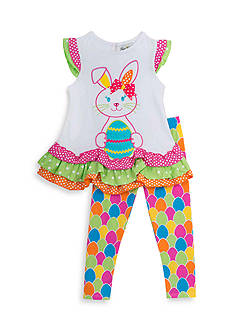 Rare Editions 2-Piece Easter Bunny Top And Legging Set Girls 4-6