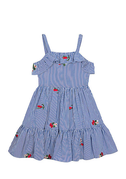 Rare Editions Embroidered Woven Dress Girls 4-6x