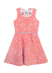 Lace Bow Back Party Dress Girls 4-6x
