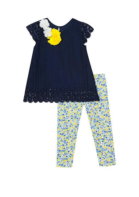 Rare Editions Girls 4-6x Navy Crochet Floral Capri