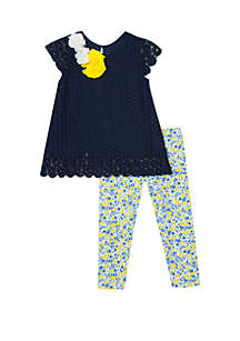 Rare Editions Girls 4-6x Navy Crochet Floral Capri Set