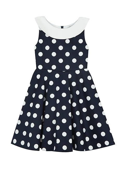 Rare Editions Girls 4-6x Navy White Polka Dot