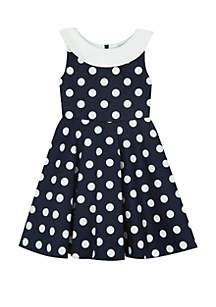 Girls 4-6x Navy White Polka Dot with Back Bow Dress