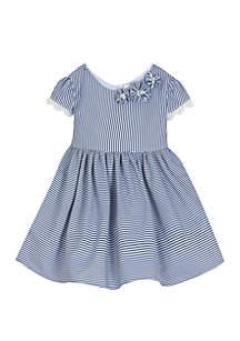Girls 4-6x Navy White Seersucker Dress