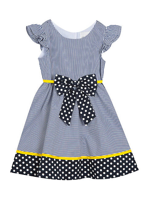 Rare Editions Girls 4-6x Navy Stripe Dots with