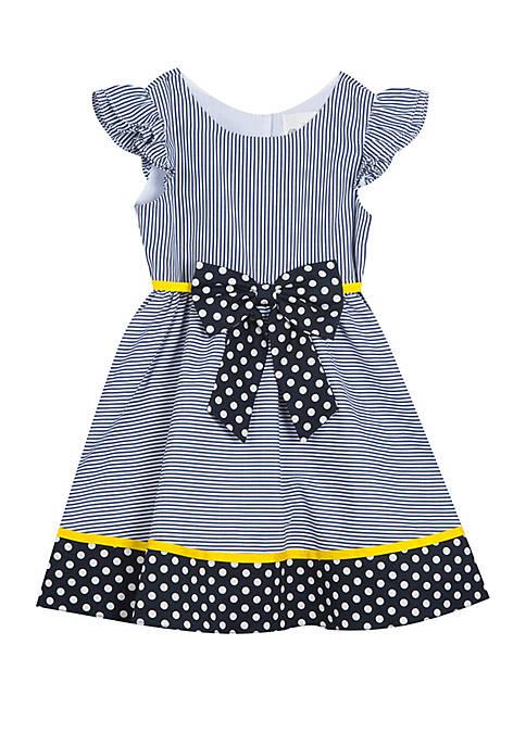 Girls 4-6x Navy Stripe Dots with Bow Dress