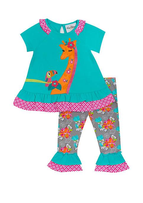 Rare Editions Girls 4-6x Giraffe Toucan Capri Set