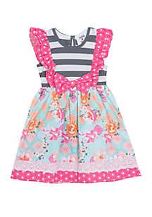 Rare Editions Girls 4-6x Pink Grey Mixed Media Dress