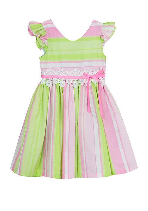 Rare Editions Girls 4-6x Pink Green Stripe Linen