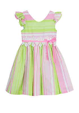 c52f9f421ec Rare Editions Girls 4-6x Pink Green Stripe Linen Dress ...
