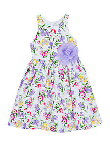Rare Editions Girls 4-6x Purple Floral Dress with Flower Accent