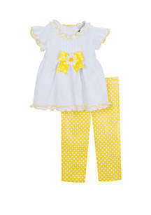 Rare Editions Girls 4-6x Yellow Dot with Bow Pretty Capri Set