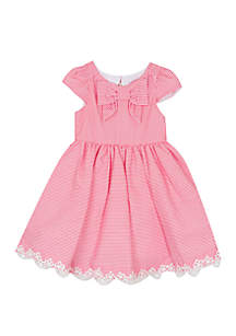 Girls 4-6x Seersucker Front Bow Dress