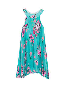 Rare Editions Girls 4-6x Floral Crystal Pleat Dress