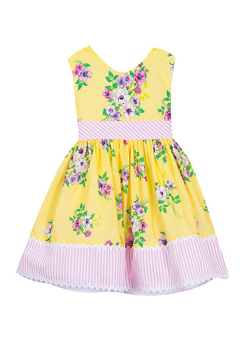 Girls 4-6x Yellow Floral Dress with Border