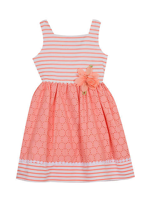 Rare Editions Girls 4-6x Peach Eyelet with Flower