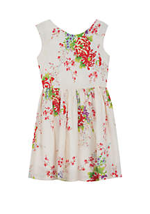 Rare Editions Girls 4-6x Ivory Floral Cotton Dress